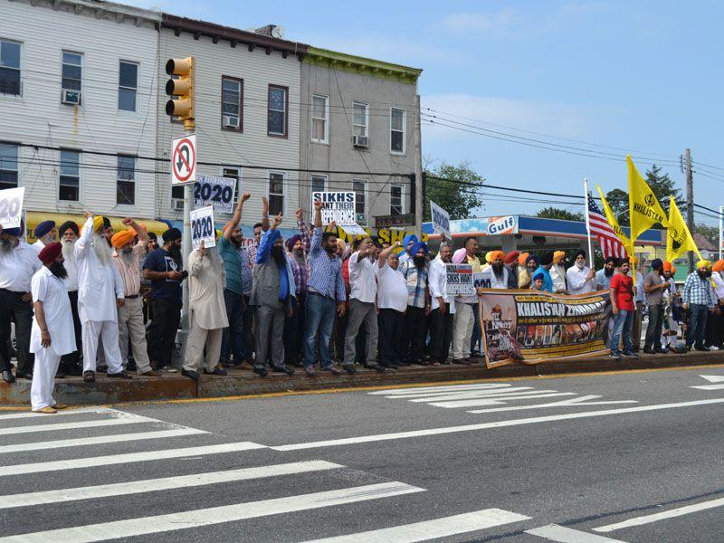 A senior cabinet minister in the Punjab government and his delegation came under attack in New York as hundreds of Sikhs protesting his visit allegedly threw stones and hurled a shoe at the leaders. HT Photo