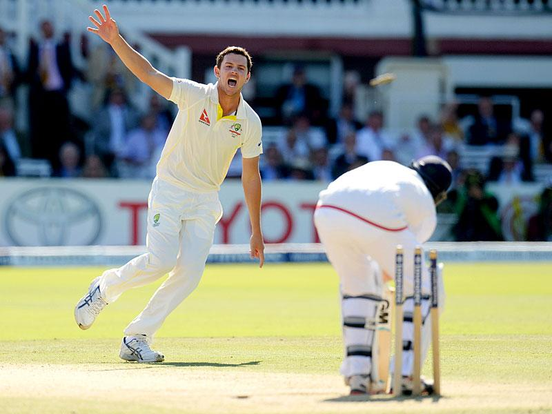 Australia's Jos Hazlewood reacts after dismissing England's Joe Root. (Reuters)