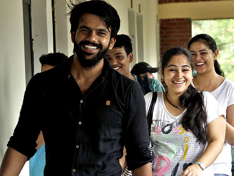 Students enjoying on the first day of college at ARSD College in south campus, New Delhi. (HT Photo/Arun Sharma)