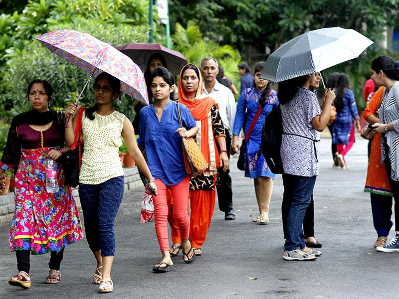 Students arrive on the first day of college in north campus in New Delhi, India. (HT Photo/Arun Sharma)