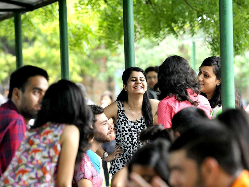 Students at Motilal Nehru College in South Campus. Delhi University's new session commenced in all the affiliated colleges in New Delhi. (HT Photo/Saumya Khandelwal)