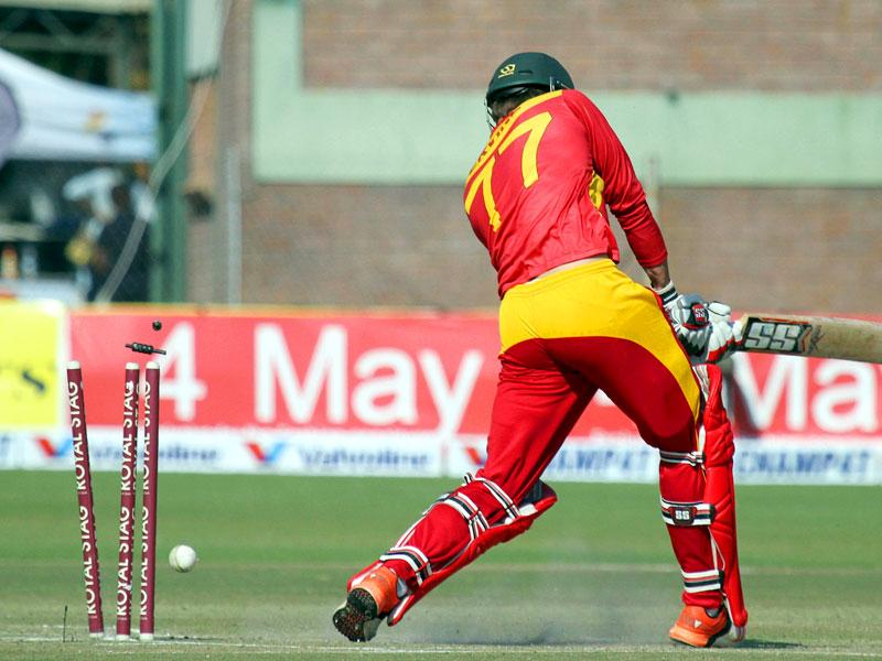 Zimbabwe batsman Craig Ervine is bowled out during the first innings. (Reuters Photo)