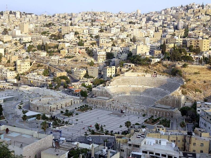 The ancient Roman amphitheatre in the Jordanian capital, Amman. (AFP Photo/ Khalil Mazraawi)