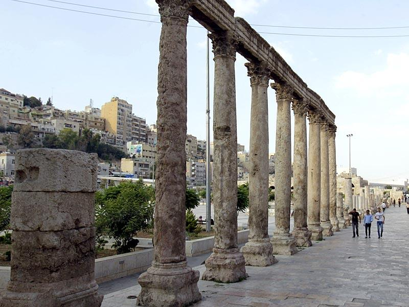A part of the ancient Roman amphitheatre in the Jordanian capital, Amman. The devastaing conflict in the country's neighbouring Syria and Iraq has hampered the tourist traffic in Jordan. (AFP Photo/ Khalil Mazraawi)