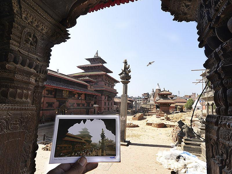Patan Durbar square before and after the devastating earthquake in Kathmandu, Nepal. (Gurinder Osan/ HT Photo)