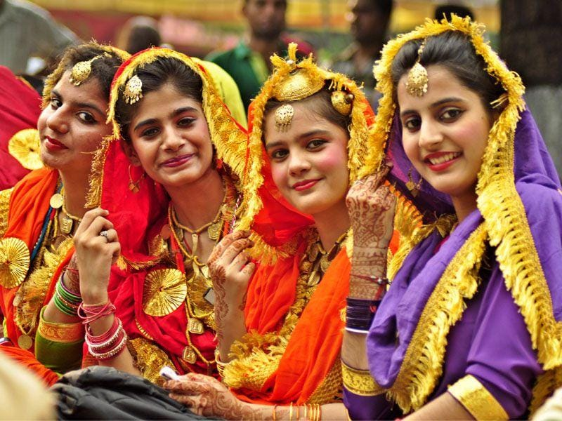 Girls celebrating Teej during a function at Rakh Bagh in Ludhiana on Saturday. Sikander Singh Chopra/HT