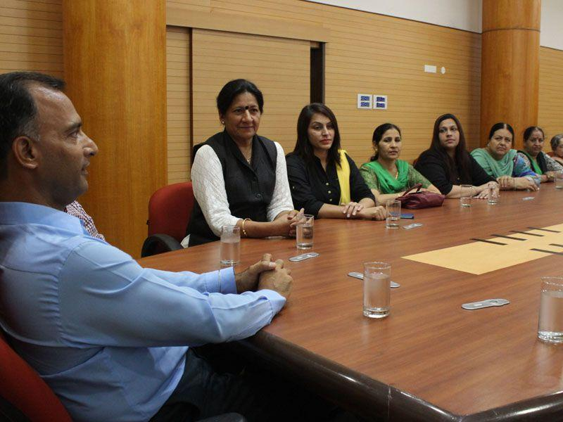 Adiviser Vijay Dev holding a meeting with mayor Poonam Sharma and councillors at the UT secretariat in Chandigarh on Wednesday Karun Sharma/ HT