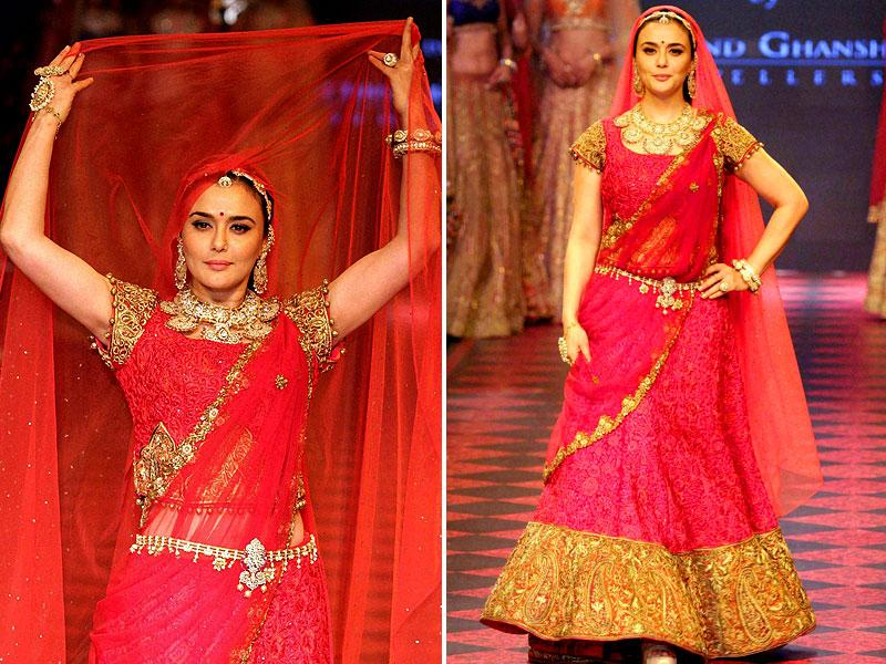 Preity Zinta channeling an Indian bride in all her glory during the India International Jewellery Week 2015. (Photo: PTI)