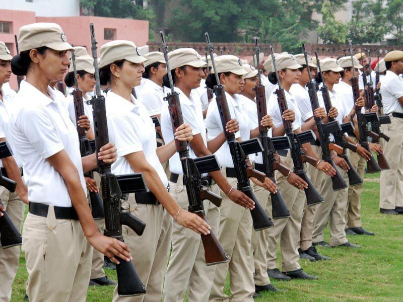 Policewomen rehearsing for the upcoming Independence Day at Guru Nanak Stadium in Amritsar on Monday. Sameer Sehgal/HT