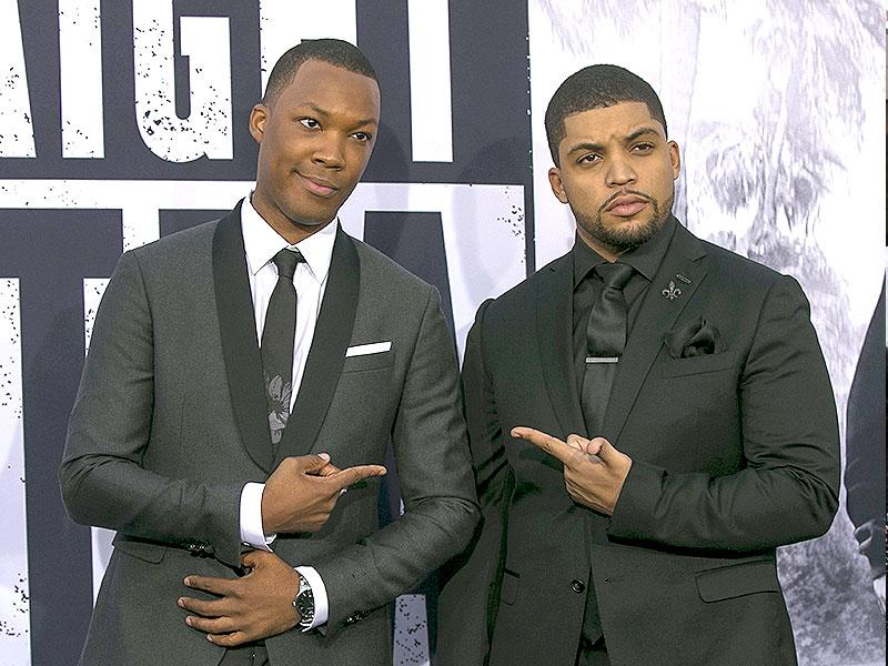 Corey Hawkins, who plays Dr Dre and O'Shea Jackson Jr, who plays his dad Ice Cube at the Straight Outta Compton premiere. (Reuters)