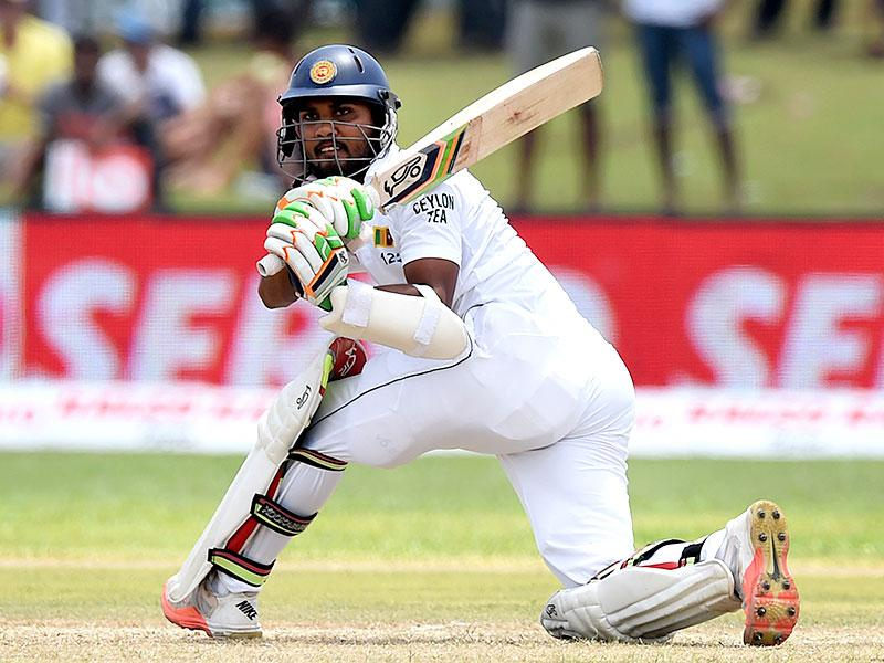 Sri Lanka's Dinesh Chandimal plays a shot during the first innings. (AFP Photo)