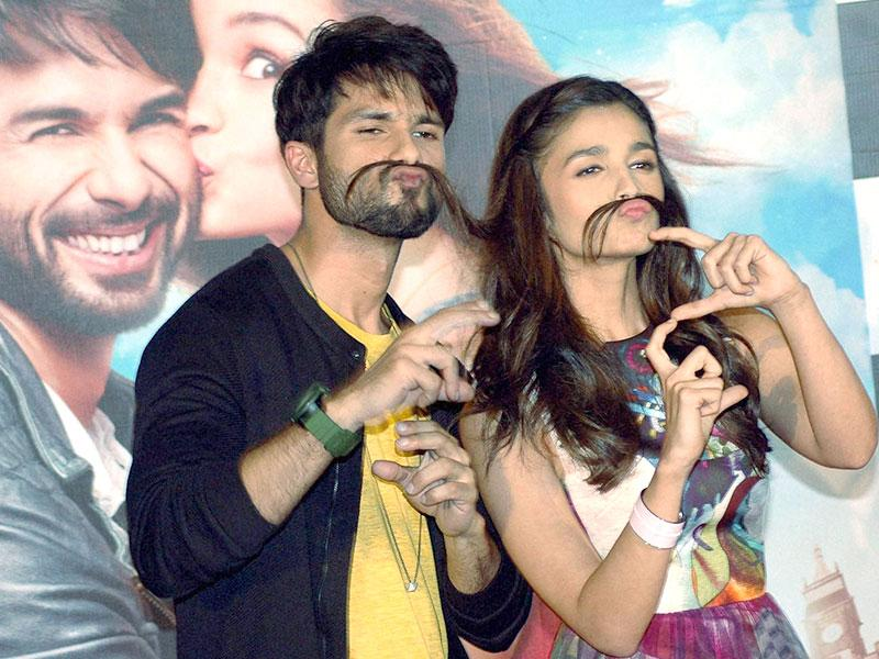 Measuring the masala quotient, are we? Shahid Kapoor and Alia Bhatt at the trailer launch of Shaandaar. (PTI Photo)