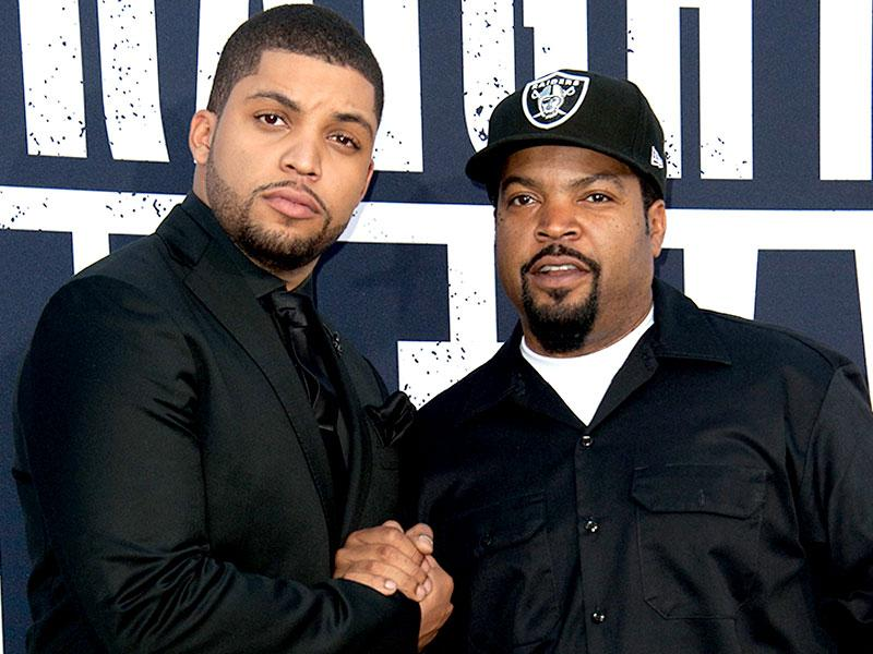 Like father like son: O'Shea Jackson, Jr with his dad Ice Cube, whom he plays in the NWA biopic Straight Outta Compton. (AFP)
