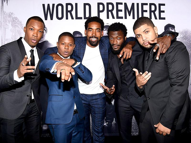 Actors Corey Hawkins, Jason Mitchell, Marlon Yates, Jr, Aldis Hodge, and O'Shea Jackson, Jr attend the premiere of Straight Outta Compton. (AFP)