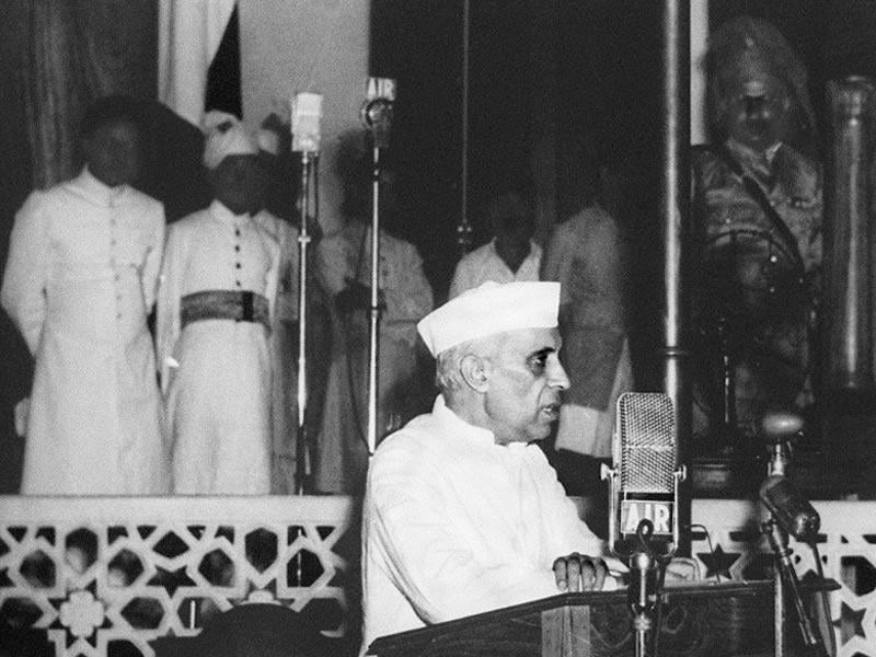 Jawahar Lal Nehru, delivers his famous