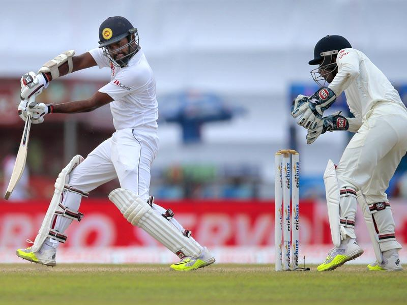 Lahiru Thirimanne plays a shot during his knock of 44. (AP Photo)