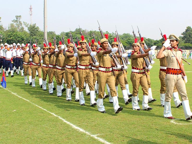 Women battalion of Haryana Police march past during the Independence Day full dress rehearsal in Tau Devi Lal Stadium in Gurgaon on Thursday.