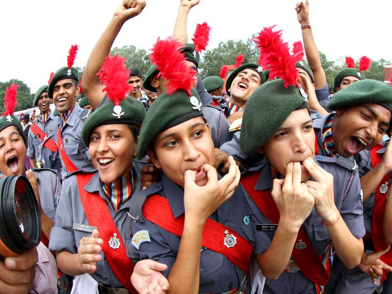 NCC cadets enjoying after the Independence Day celebrations at Parade Ground, Sector-17, Chandigarh on Saturday. (Gurpreet Singh/HT Photo)