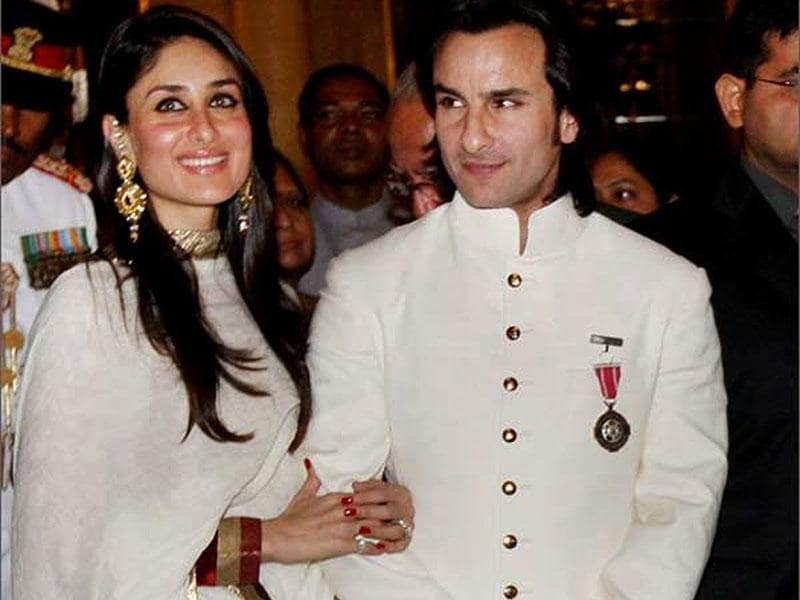 Saif Ali Khan looked dapper in a white kurta pyjama teamed with a bandhgala jacket, when he was presented the Padma Shri Award. (PTI, AP and IANS Photos)