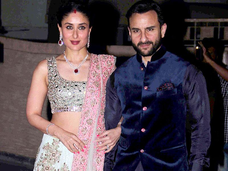 We loved Saif's Nawabi blue kurta and jacket combo at Soha-Kunal's grand wedding party for close friends and family in early 2015.