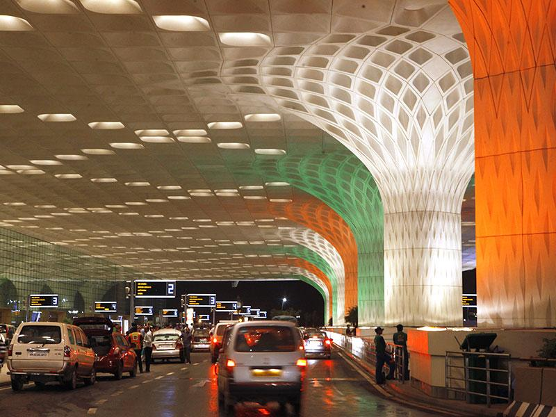 The pillars of Mumbai's international airport were lit up in Tricolour on the eve of India's Independence Day. (Pratham Gokhale/HT photo)