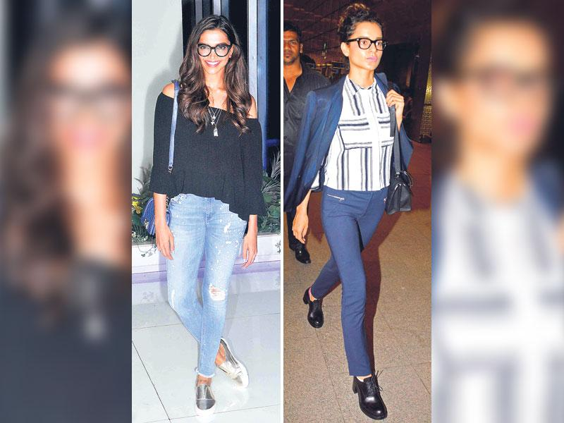 No kidding: You can go the casual way by following actors Deepika Padukone by wearing spectacles with denim jeans. Or you can get inspired by actor Kangana Ranaut who means serious business in her blue pant-suit and buttoned-up crisp shirt. The black specs add to her prim 'n' proper look. (HT Photo/ Yogen Shah)
