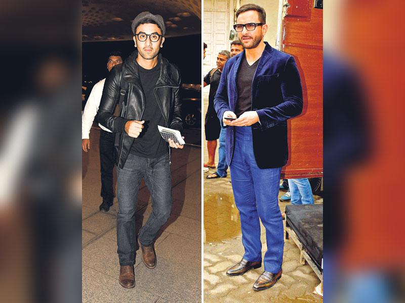 Velvety effect: Why should men be left behind in the race? Take a cue from actor Saif Ali Khan who goes the semi-formal way by teaming up rectangular glasses with a velvet blazer over pants. Follow suit if going to a wedding. Man in black Ranbir Kapoor matches his spectacles with an all-black ensemble. The chic glasses add an element of style to his retro look. (HT Photo/ Yogen Shah)