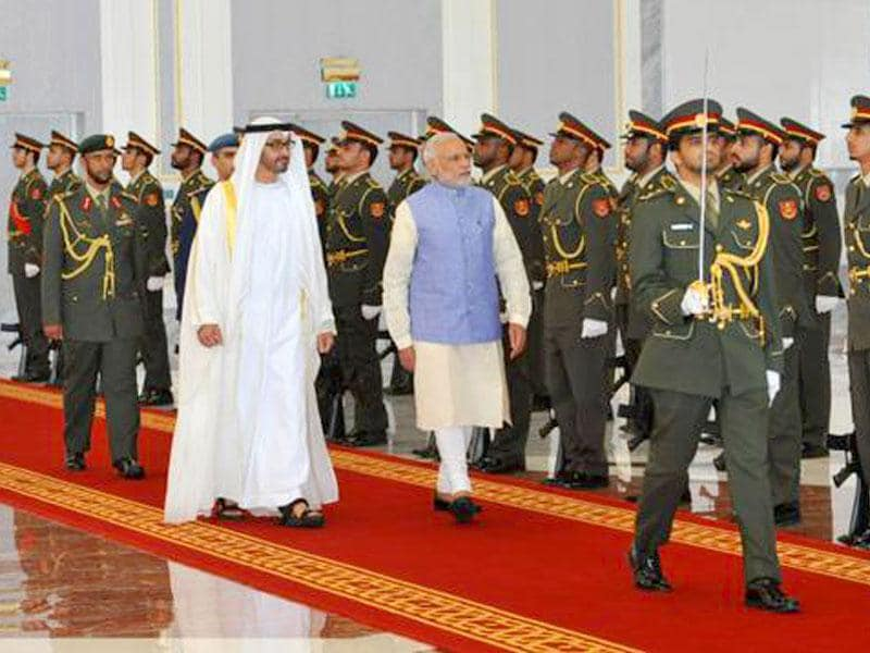 Modi's UAE visit hopes to see the two countries step up security cooperation, energy, trade and investment ties. (Image via Twitter, @PIB_India)