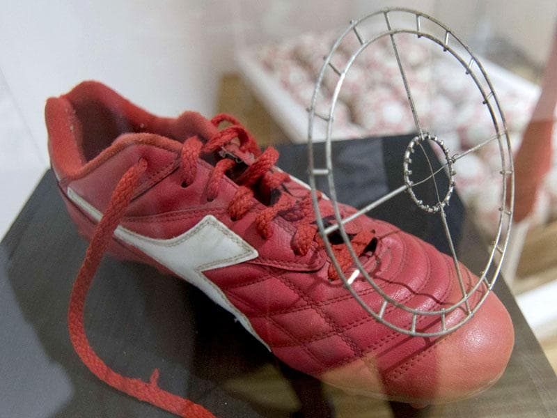 An aiming device for soccer shoes. The co-manager of the 'Nonseum', Susanne Machac, is also the sister-in-law of Fritz Gall. (AFP Photo/ Joe Klamar)