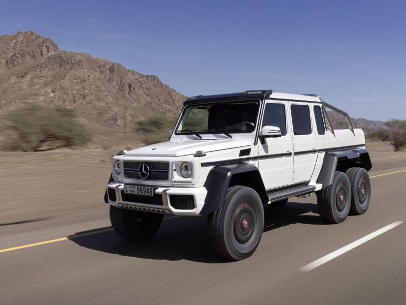 Mercedes-Benz G 63 AMG 6x6 - $500,000 : This is already a custom car in as much as Mercedes builds it in very, very small numbers and in terms of being noticed, it's pretty impossible to keep a low profile in something with six wheels and a 544hp engine. The car is also the longest, widest and tallest off-roader currently in production. Photo:AFP