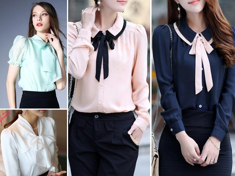 Big bow collar: Can bow collars never go out of style, please? We are big fans of a blouse with a bow. Clearly.