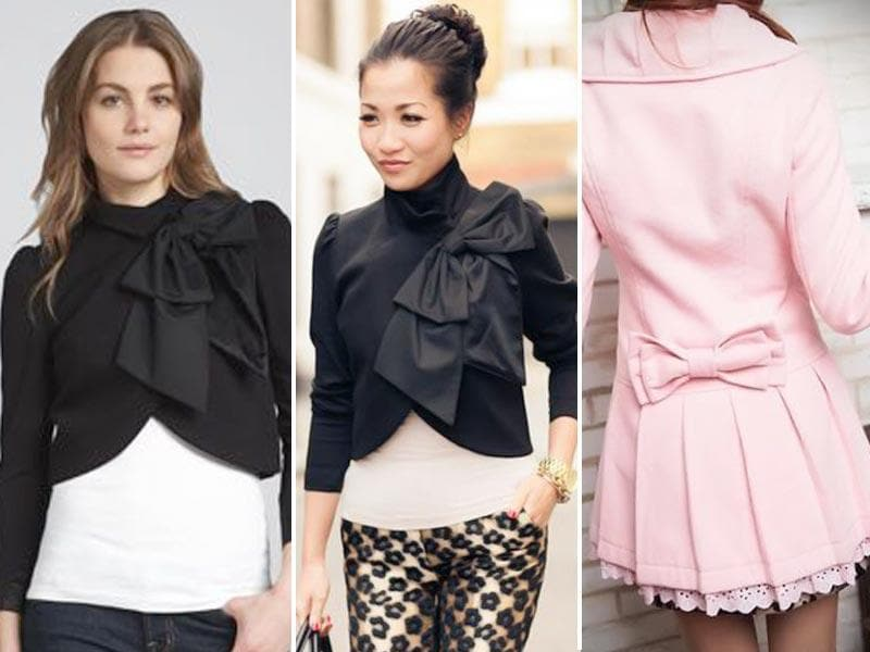 Bow-collared coat: This is one of our favourite ways to wear a bow. These pics show just how striking this look is.