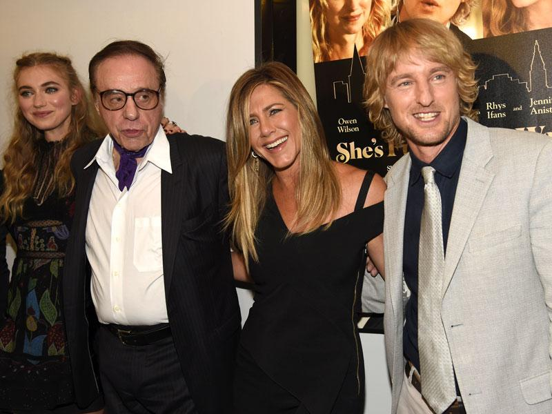 (From left) Imogen Poots, Peter Bogdanovich, Jennifer Aniston and Owen Wilson arrive at the Los Angeles premiere of She's Funny That Way on Wednesday. (AP photo)