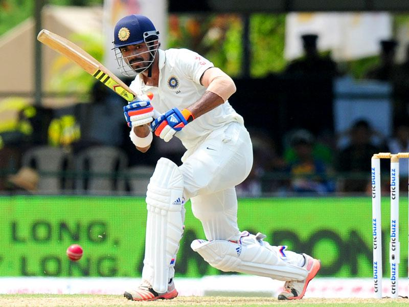 Lokesh Rahul plays a shot during Day 1 of the second Test match between Sri Lanka and India at the P Sara Oval Cricket Stadium in Colombo on August 20, 2015. (AFP Photo)