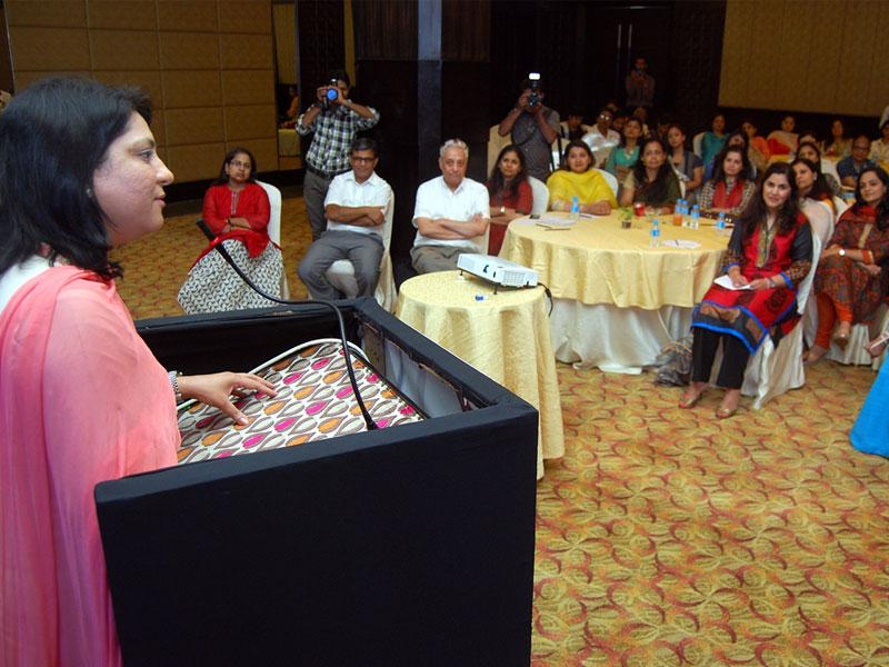 Nargis Dutt Cancer Foundation trustee Priya Dutt launched two chapters of Friends of Indore Cancer Foundation in Indore on Thursday. (Arun Mondhe/HT)