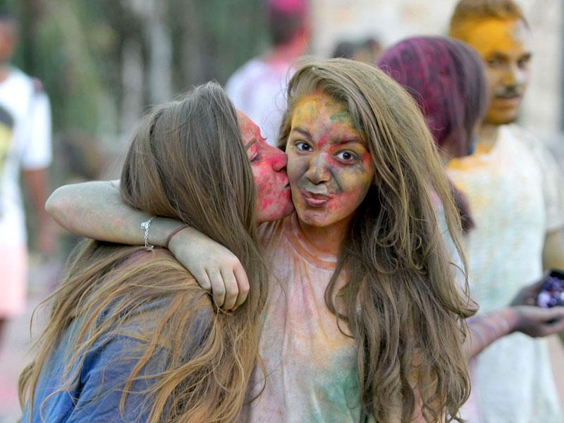 Palestinians participate in the Festival of Colours organised in the West Bank city of Ramallah. (AFP Photo/ Abbas Momani)