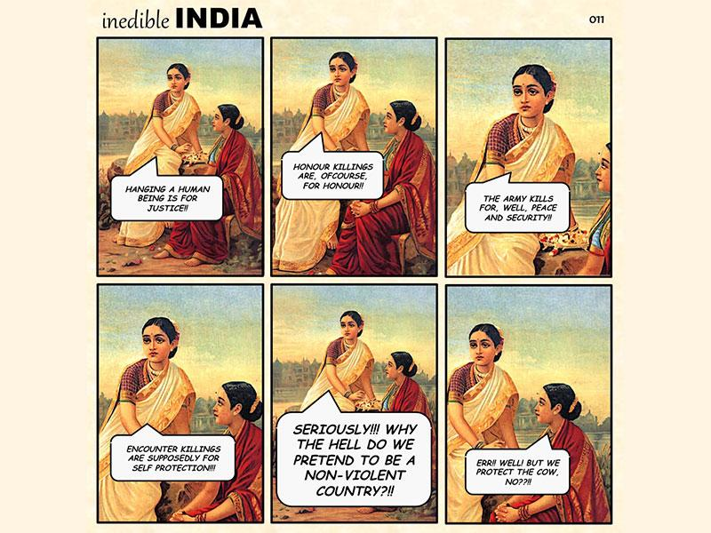Since August 3, Chennai-based Rajesh Rajamani has been commenting on current and trending issues by juxtaposing them with Raja Ravi Varma's paintings to create Inedible India. (Photo: Inedible India)
