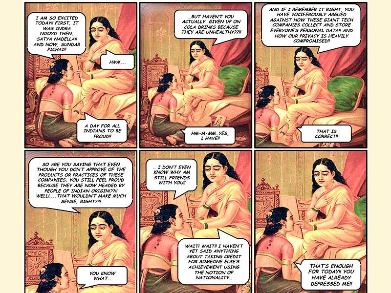 Web comics Inedible India has been commenting on current and trending issues by juxtaposing them with Raja Ravi Varma's paintings. (Photo: Inedible India)