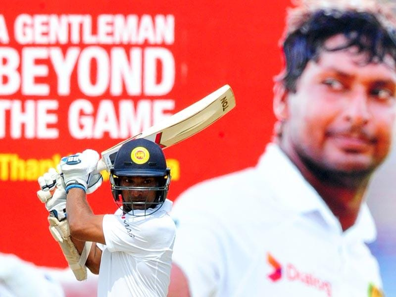 Sangakkara plays a shot during his innings of 32. (AFP Photo)