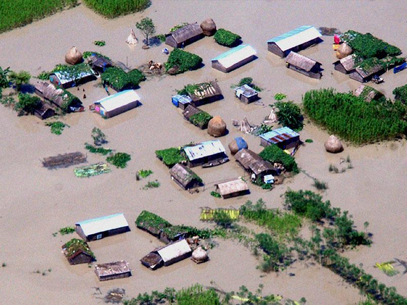 An aerial view of the flood affected districts of lower Assam on Sunday. PTI Photo