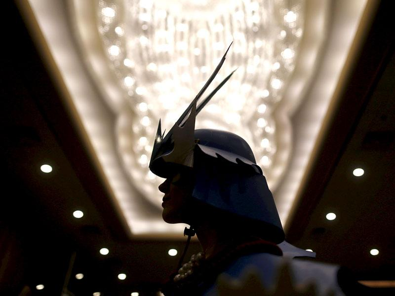 This Samurai has got the swagger. A contestant waits for his turn. (Reuters/ Jim Young)