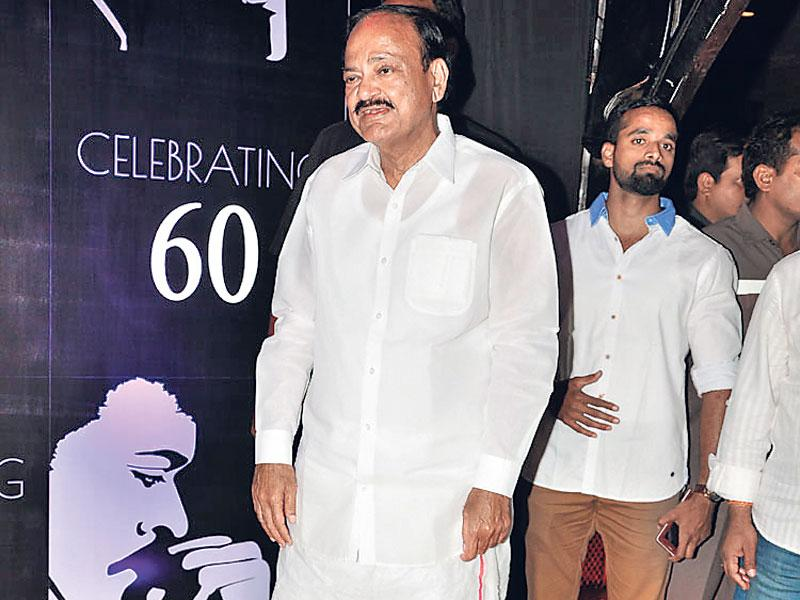 BJP politician Venkaiah Naidu also attended the birthday party of actor-turned-politician Chiranjeevi. (Photo: Viral Bhayani)