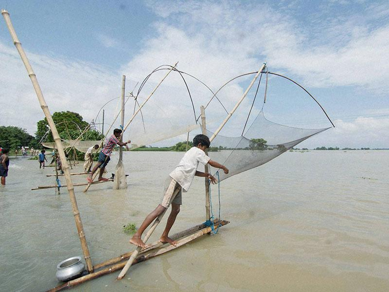 Villagers fishing with makeshift nets on a flooded area at Mayong village, in Morigaon distric of Assam. (PTI Photo)
