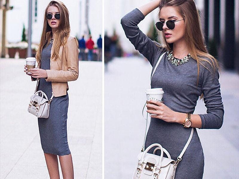 Need to update your wardrobe? There's nothing more inspiring than this style-savvy grey knee-length dress.