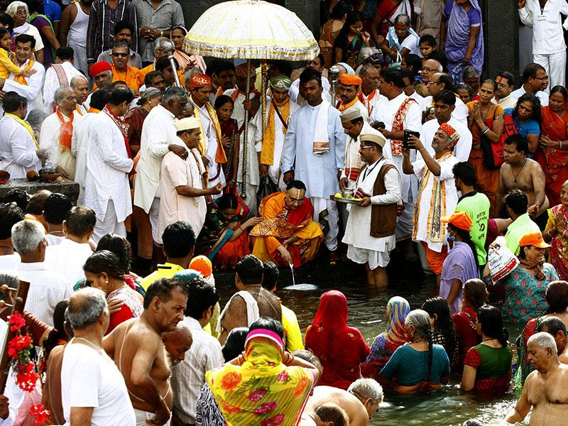 The Nashik Kumbhmela is a celebration that is held once every 12 years – it is scheduled for 2015 (Aug-Sept). Millions of devotees and tourists from all around the world participate in this holy event in India. (Ajay Aggarwal/ HT Photo)