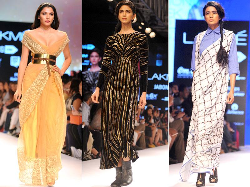 From L: Models showcase creations by designer Nikhil Thampi, Huemn and Ilk at Lakme Fashion Week (LFW) Winter/Festive 2015. (Sujit Jaiswal/AFP photos)