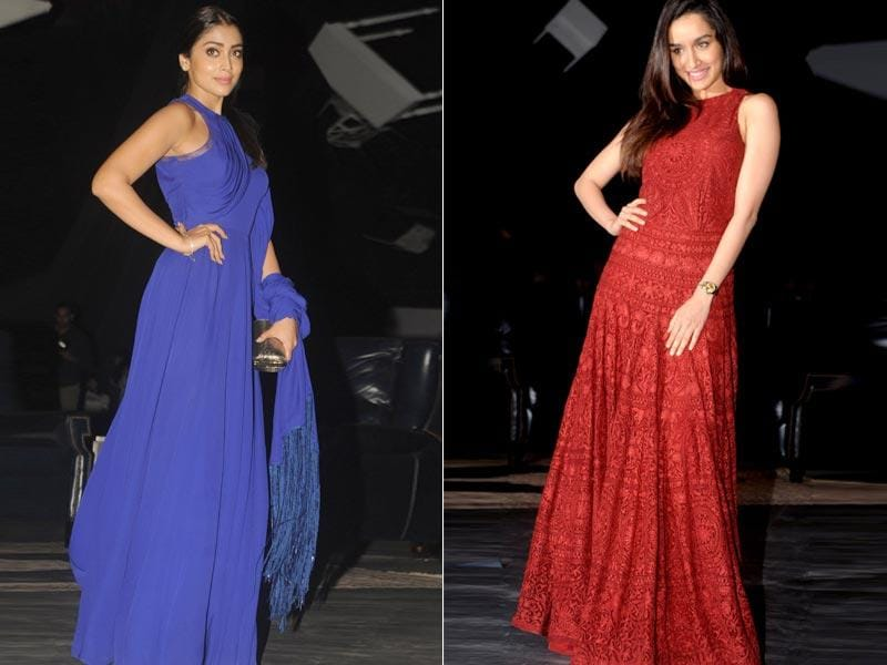 Shriya Saran (L) and Shraddha Kapoor also attended the LFW Winter/Festive 2015. (AFP Photo, IANS Photo)