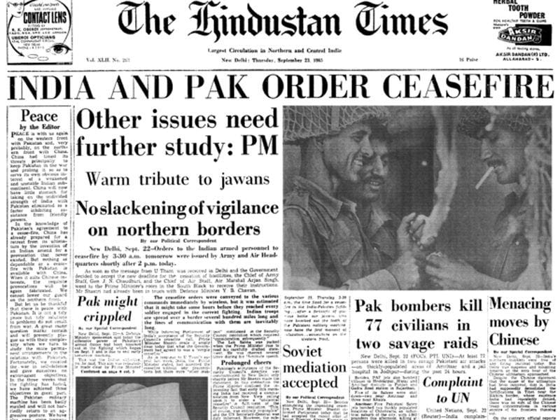 The Hindustan Times announcing the end of the 1965 conflict between India and Pakistan. (HT Photo)