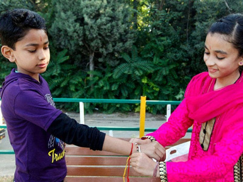 Raksha Bandhan, a festival which celebrates the bond between brothers and sisters, being celebrated at Shankaracharya in Srinagar. Abid Bhat/ HT