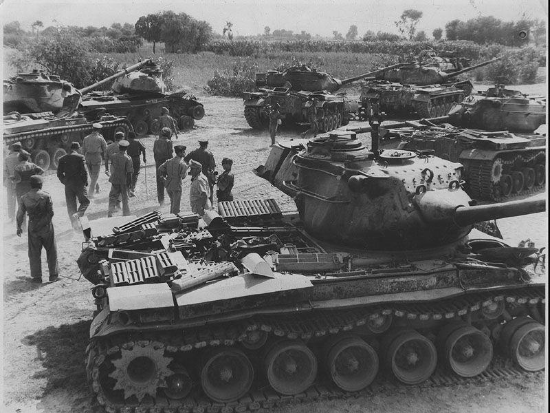 The photograph depicts the 1965 Indo-Pak War where a large number of Pakistani Patton Tanks were Destroyed by Indian forces. (PIB)